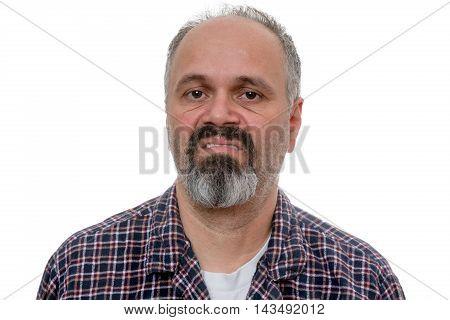 Disgusted Man With Beard Makes Face At Camera
