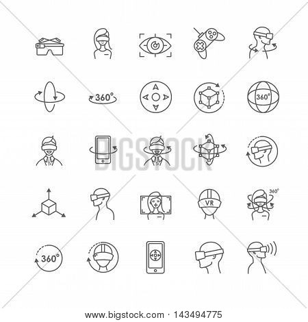 Virtual and augmented reality vector icons for your design