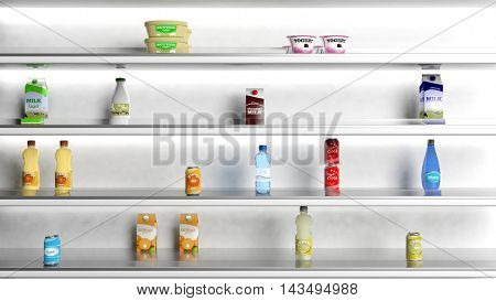 3d rendering Supermarket white shelves with products