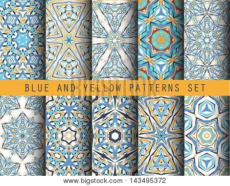 Blue Yellow Kaleidoscopic seamless Patterns Set. Geometric floral backgrounds for wallpaper, floor, ceramic tiles, furniture textile, fabric print. Vector decorative ornaments collection