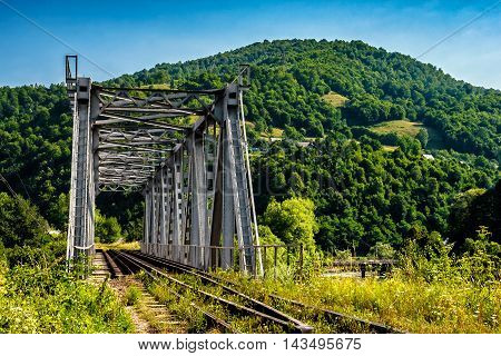 Metal Bridge In Carpathian Countryside