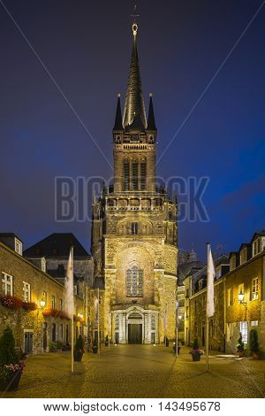 Aachen Cathedral And Domhof At Night