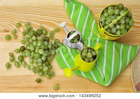 Small bucket and watering cans with fresh gooseberries on wooden background