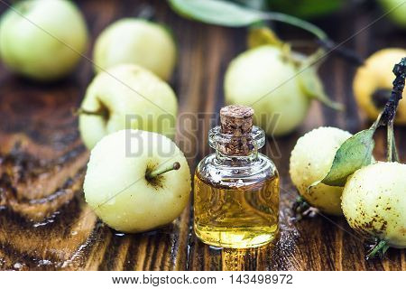 Apple vinegar in glass jar with ripe green wild apple fruits. Bottle of apple organic vinegar on wooden background. Healthy organic food.