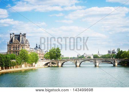 Pont Royal over river Seine, Paris, France, retro toned