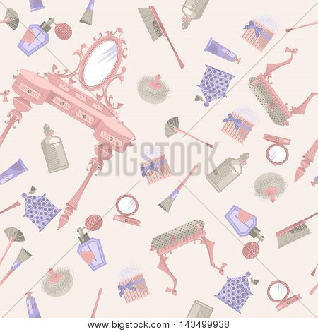 Dressing table with a mirror and cosmetics. Retro style. Seamless background pattern. Vector illustration