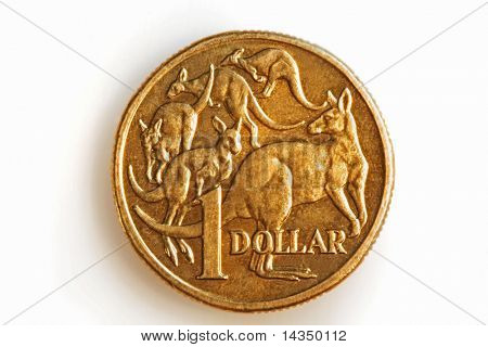 A bronze Australian one dollar coin, isolated on white.