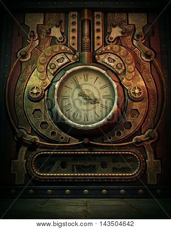 3d computer graphics of a clock in Steampunk style