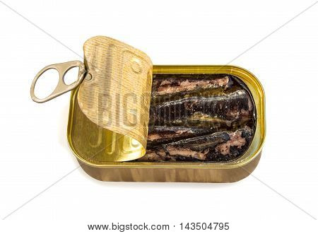 Open tin can with sardines isolated over white with clipping path. Top view.