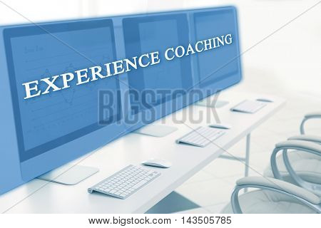 Modern computers in the office. Experience coaching concept
