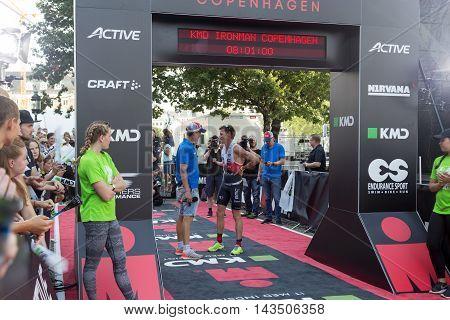 Copenhagen, Denmark - August 21, 2016: Triathlete Will Clarke just after finishing as 2nd in men's in 07:59:31 at the KMD Ironman Copenhagen 2016