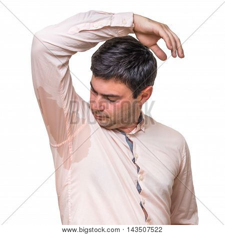 Young man with sweating under armpit in pink shirt isolated on white poster