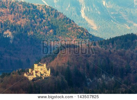 Beautiful Spring Landscape With Hohenschwangau Castle At Sunrise
