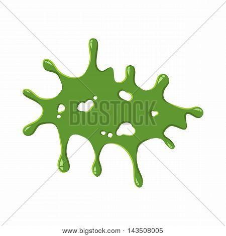 Splattered mucus isolated on white background. Green slime blot vector illustration
