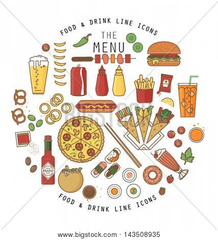 FOOD AND DRINK FLAT ICONS DESIGN. Can use for print projects, branding, restaurants, web, applications.