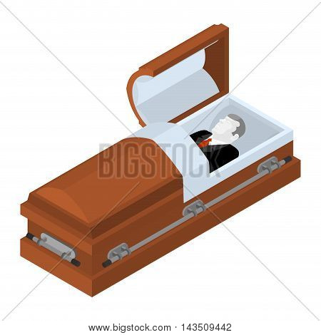 Deceased In Coffin. Dead Man Lay In Wooden Casket. Corpse In An Open Hearse For Burial