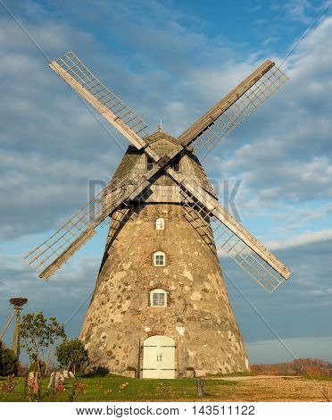View on old windmill in countryside of Europe