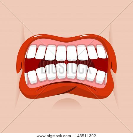 Angry Mouth. Aggressive Emotion. Straseni Grin. White Teeth And Red Lips. Unhappy Shout
