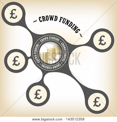 Vector object with theme of crowd funding and pound sterling symbol