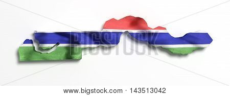 3d rendering of Gambia map and flag on white background poster