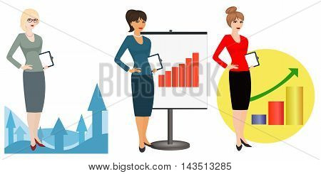Vector illustration of a qualified referent  on  white background. Specialist in public relations, PR manager , skilled office employee. Horizontal location. poster