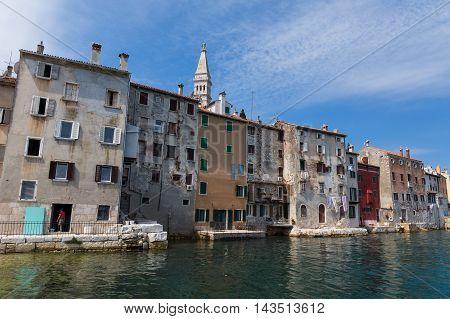 Rovinj Croatia July 2 2015: Medieval City of Rovinj during day Croatia