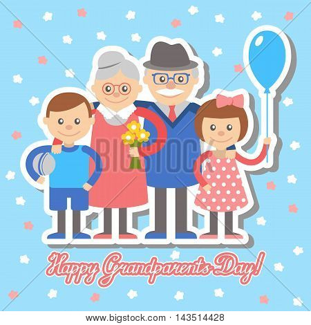 Grandmother and grandfather and grandchildren greeting card for grandparents day.