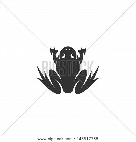 Frog logo silhouette design template isolated on a white background. Simple concept icon for web, mobile and infographics. Abstract symbol, sign, pictogram, illustration - stock vector