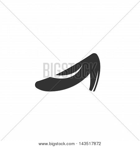 Shoe logo silhouette design template isolated on a white background. Simple concept icon for web, mobile and infographics. Abstract symbol, sign, pictogram, illustration - stock vector