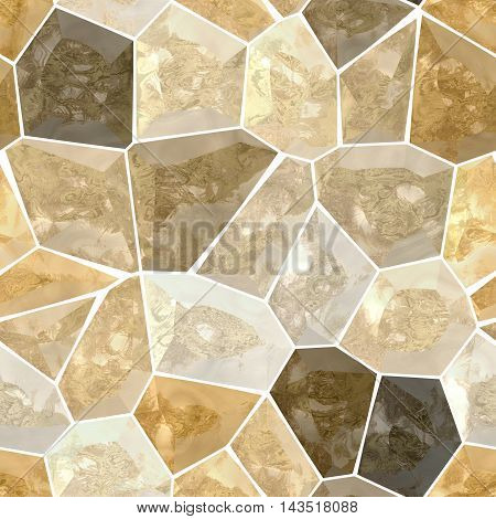 brown and beige marble irregular plastic stony mosaic seamless pattern texture background with white grout