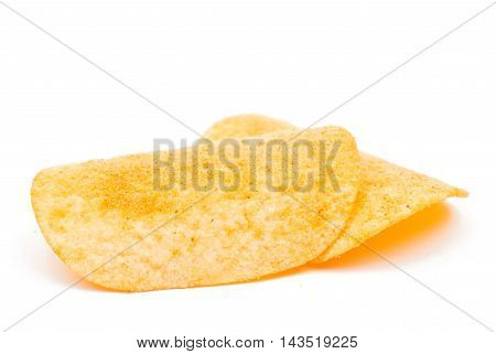 Potato chips  titbits on a white background