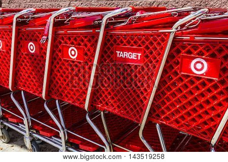 Indianapolis - Circa August 2016: Target Retail Store Baskets. Target Sells Home Goods Clothing and Electronics VI