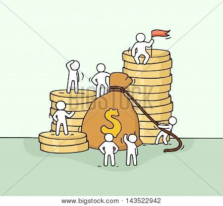 Sketch of money bag with working little people. Doodle cute miniature of stack of coins and big profit. Hand drawn cartoon vector illustration for business and finance design.