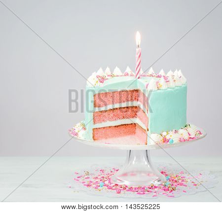 Blue Birthday Cake With Pink Layers