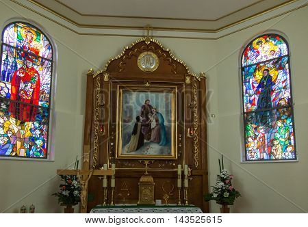 Komancza Poland - July 20 2016: Inside the chapel of the convent of the Sisters of Nazareth in Komancza. From 1955 to 1956 the monastery was interned Cardinal Stefan Wyszynski
