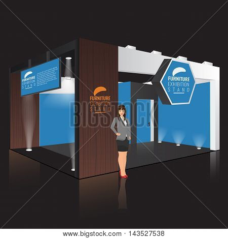 Creative exhibition stand display design with info board. Booth template. Corporate identity. Vector Mock up. Unique Trade booth template with beam light effect. Business lady standing