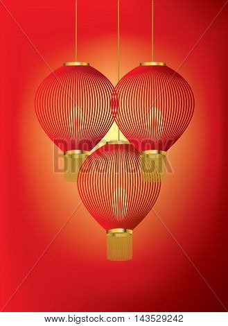 Red Chinese lanterns on red and orange background