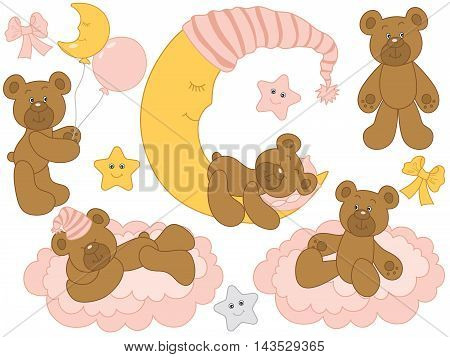 Vector cute baby bears with moon clouds stars and balloons - Baby Girl Set