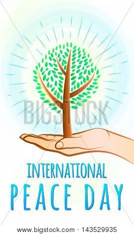 Vector illustration of international peace day september 21. Greeting card with day of peace with trees, open palm, sunburst, typography sign. Peace day celebration vertical background
