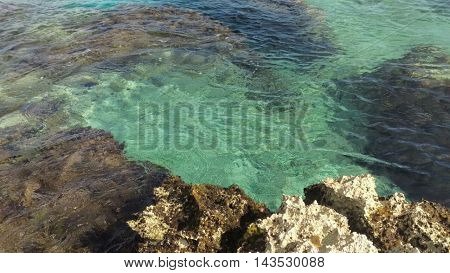 crystal clear sea water with rocks somewhere in mexico cozumel island