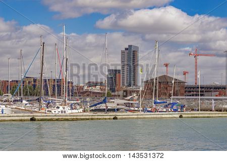 Southampton/UK. 21st August 2016. The Southampton Town Quay and Ocean Village skyline on a warm Summer's day. Ocean Village in the background is currently undergoing a series of major redevelopment.