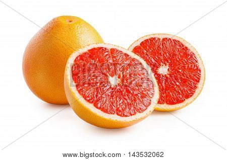 Grapefruits. Ripe grapefruits isolated on white background. Grapefruit in a cut