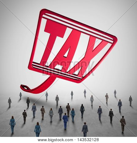 High tax challenge and business taxes concept as a fly swatter with text challenging a group of people as a financial accounting symbol for taxation law issues and debt danger with 3D illustration elements.