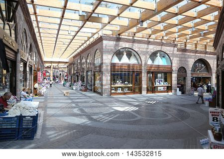 Havlucular Bazaar In Kapalicarsi In Bursa City, Turkey