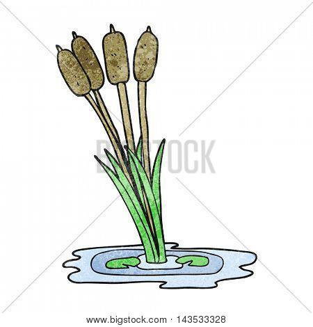 freehand textured cartoon reeds