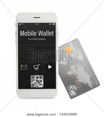 Credit card and smartphone with mobile wallet application on screen. E-commerce concept.