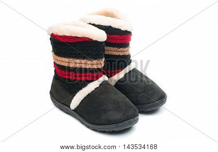 fur boots  fashion on a white background