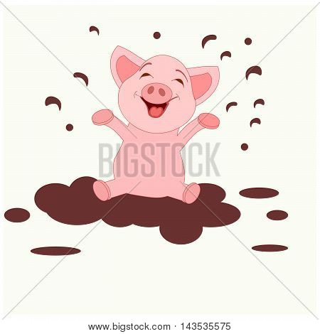 Cute pigs. Cheerful pig. Funny pigs vector.
