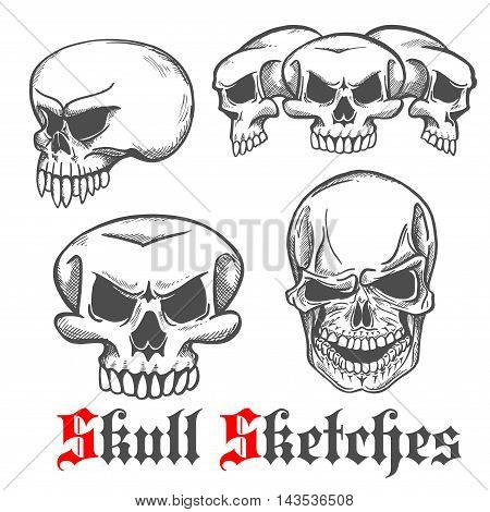 Sketches of human skulls with spooky laughing grins and monster cranium with long sharp fangs. Jewelry, tattoo or Halloween party decoration design