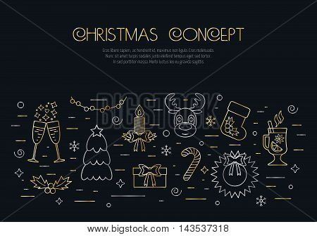 Christmas black concept with decorated Christmas gold and silver elements and attributes in a thin line for prints. Flat design. Vector illustration